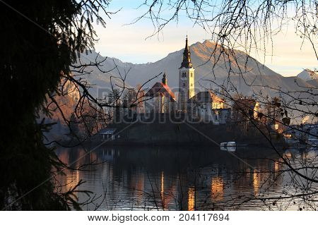 The Assumption church in the island of bled reflecting in the water among trees.