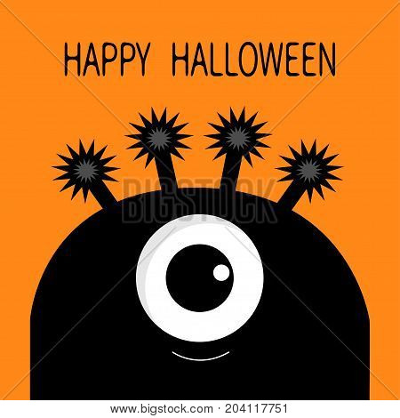 Happy Halloween card. Monster head silhouette with one eye. Black color Funny Cute cartoon character. Baby collection. Flat design. Orange background. Vector illustration