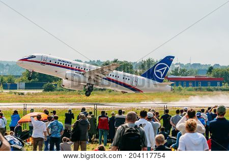 Airplane Sukhoi Superjet 100 Russia, Moscow, Airport Zhukovsky. July 21, 2017