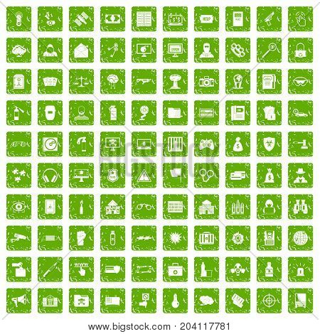 100 hacking icons set in grunge style green color isolated on white background vector illustration