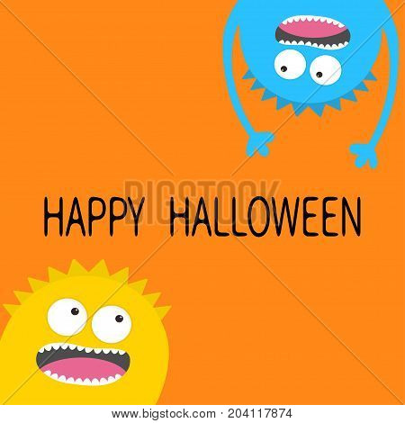 Happy Halloween card. Screaming monster head silhouette set. Two eyes teeth tongue hands. Hanging upside down. Funny Cute cartoon character. Baby collection. Flat design. Orange background. Vector