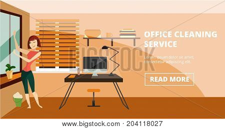 Vector office cleaning service horizontal banner. Charwoman washing window, illustration in cartoon style for cleaning business advertising.