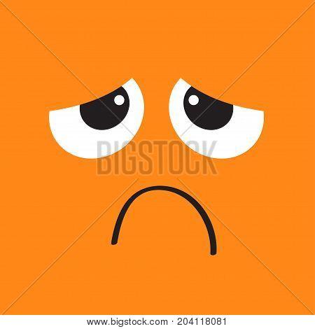 Sad face emotion. Big eyes hurt mouse. Square head. Happy Halloween card. Flat design style Orange background. Vector illustration