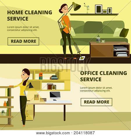 Vector set of cleaning horizontal banners. Home and office cleaning service concept design elements in cartoon style for cleaning business advertising.