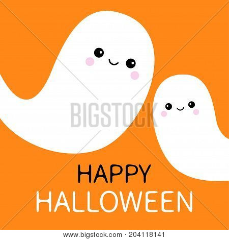 Two flying ghost spirit set. Happy Halloween. Scary white ghosts. Cute cartoon spooky character. Smiling face. Orange background. Greeting card Isolated. Flat design. Vector illustration
