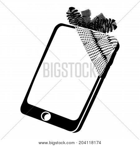 Broken screen smartphone icon. Simple illustration of broken screen smartphone vector icon for web