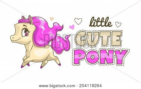 Little cute pony patch. Funny vector print for girlie t shirt design.