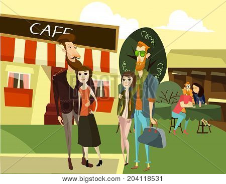 Vector illustration of two charming hipster couples men and women standing in front of street cafe. Young couple sitting at the table. Cafe exterior.