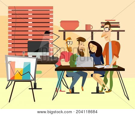 Office team concept vector illustration. Coworking team. Office workers three males and female sitting at writing desk and working in front of laptop together, modern office interior and equipment.