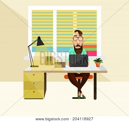 Vector illustration of office worker male sitting at the table and using laptop. White collar worker, modern office interior and office supplies.