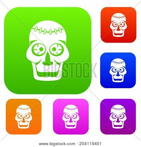 Skull set icon color in flat style isolated on white. Collection sings vector illustration