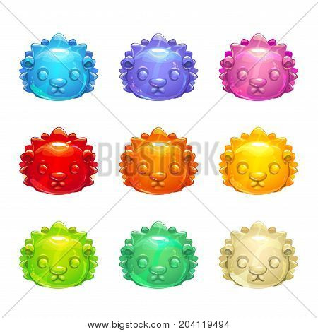 Cute jelly hedgehog faces. Vector colorful gummy candy icons.