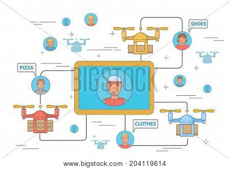 Drone delivery concept vector illustration with charts for delivery company. Modern express pizza, shoes and clothes delivery by quadcopter flat symbols, icons isolated on white background.