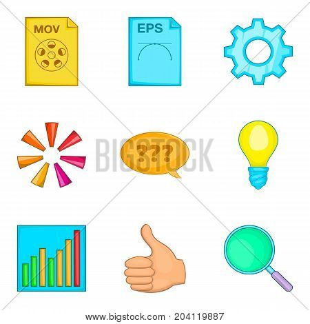 File search icon set. Cartoon set of 9 file search vector icons for web design isolated on white background