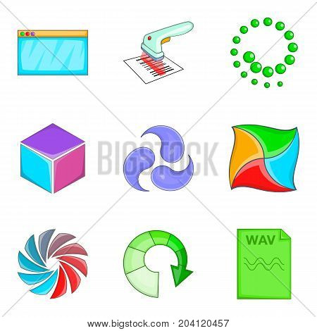 Cloud loading icon set. Cartoon set of 9 cloud loading vector icons for web design isolated on white background