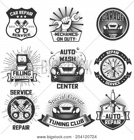 Vector set of vintage car service logos, emblems, badges, symbols, icons isolated on white background. Typography design for auto repair, car wash business and print.