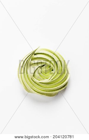 One Green Meringues On White Background