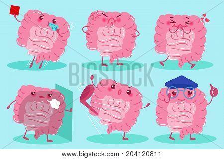 cute cartoon brain on the blue background
