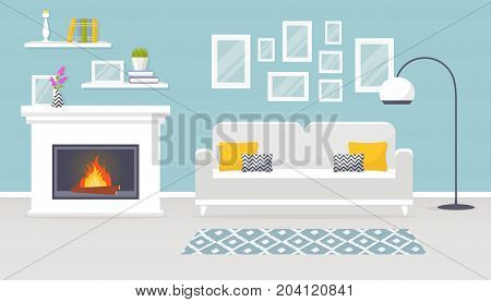 Modern interior of the living room. Vector banner. Design of a cozy room with sofa fireplace and decor accessories.