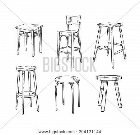 Set of hand drawn stools, vector sketch