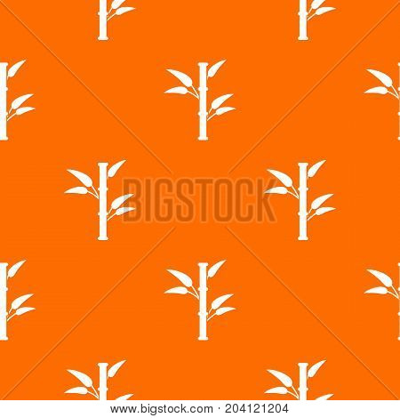 Bamboo pattern repeat seamless in orange color for any design. Vector geometric illustration