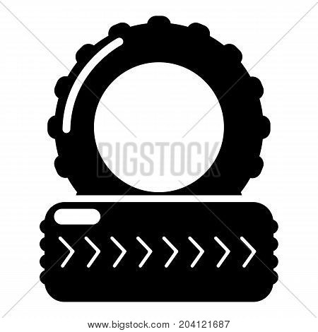 Paintball field tire barricade icon. Simple illustration of paintball field tire barricade vector icon for web design