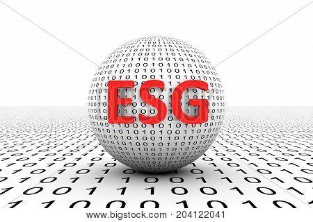 ESG conceptual sphere binary code 3d illustration