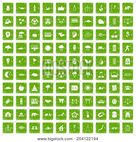 100 harmony icons set in grunge style green color isolated on white background vector illustration