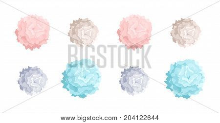 Collection of pastel colored pom poms of different size. Dance props used in choreography performances and cheerleading. Colorful decorative elements isolated on white background. Vector illustration