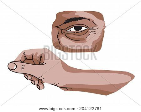 Eye and hand study with shadows and lines artistic cartoon