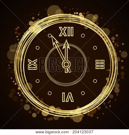 Happy New Year Background Gold Clock