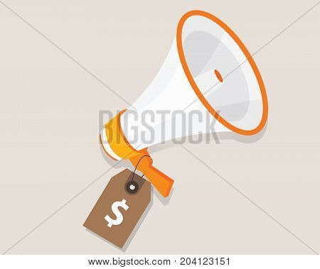 marketing cost budget promotion plan advertising strategy megaphone and price tag vector