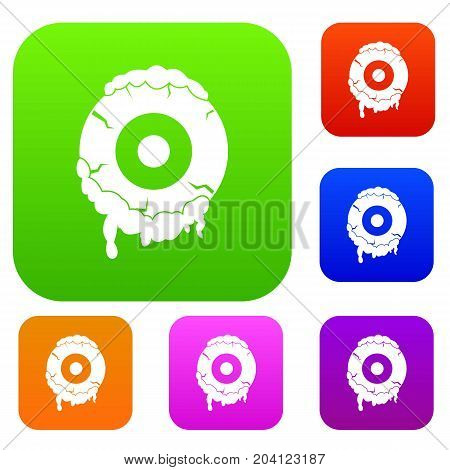 Scary eyeball set icon color in flat style isolated on white. Collection sings vector illustration