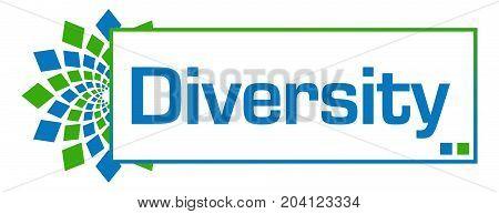 Diversity text written over blue green background.