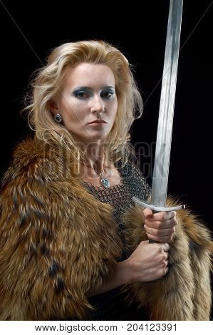 ancient, Valkyrie. northern Viking girl with sword