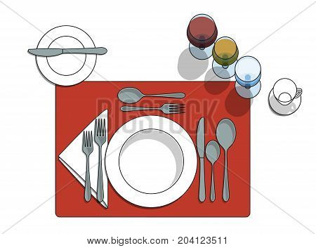 Table setting diagram with eating utensils cups placemat