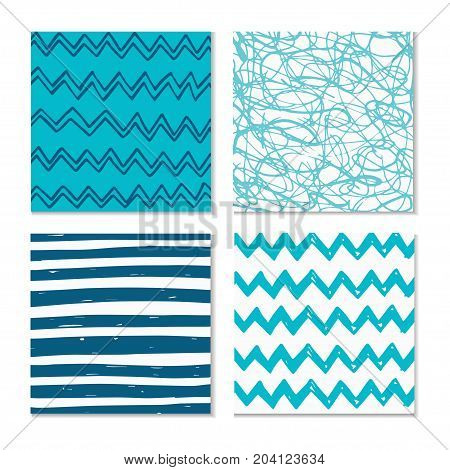 Set Of Four Abstract Hand-drawn Wave Patterns.