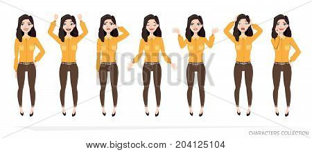 Set of emotions for business woman.Young girl in a cartoon style experiences different emotions.