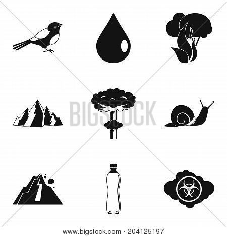 Disaster in nature icon set. Simple set of 9 disaster in nature vector icons for web design isolated on white background