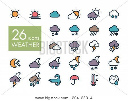 Meteorology Weather flat icons set vector illustration eps 10