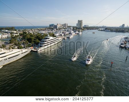 Boats floating in Fort Lauderdale bay, Florida USA. Aerial view.