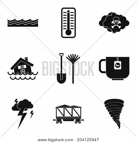 Water disaster icon set. Simple set of 9 water disaster vector icons for web design isolated on white background