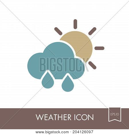 Rain Cloud Sun outline icon. Meteorology. Weather. Vector illustration eps 10