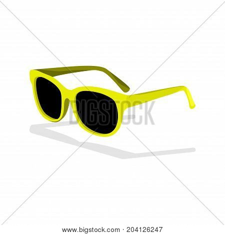 Yellow trendy sunglasses icon in cartoon style isolated on white background. Brazil country symbol stock vector illustration.