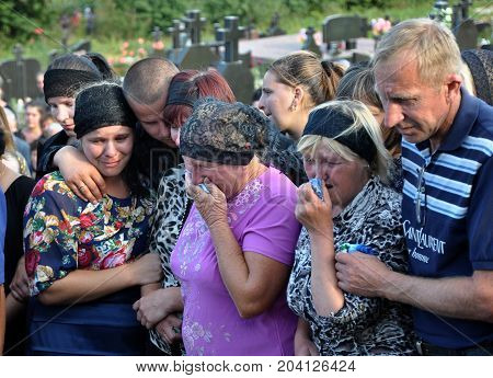 Rosokhach - Chortkiv - Ukraine - September 5 2014. Villagers and district Rosokhach say goodbye to Ukrainian soldier killed in Donbas in the war with Russia