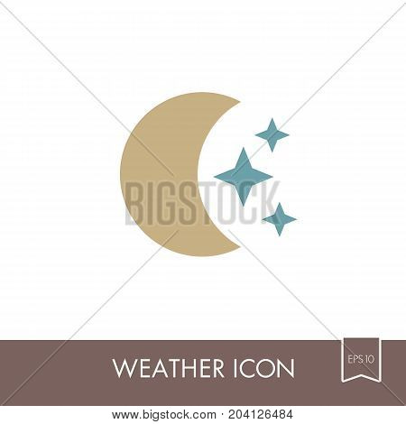 Moon and stars outline icon. Sleep night dreams symbol. Meteorology. Weather. Vector illustration eps 10