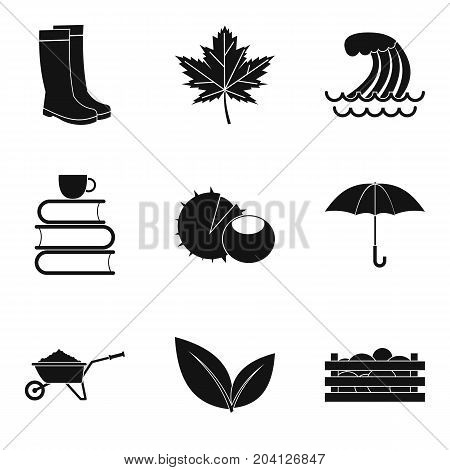 Autumn time icon set. Simple set of 9 autumn time vector icons for web design isolated on white background