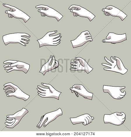 Hands in a collection of 20 different gestures