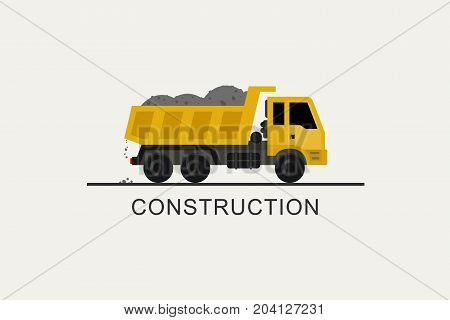 Construction truck with full body. Construction machinery in flat style.