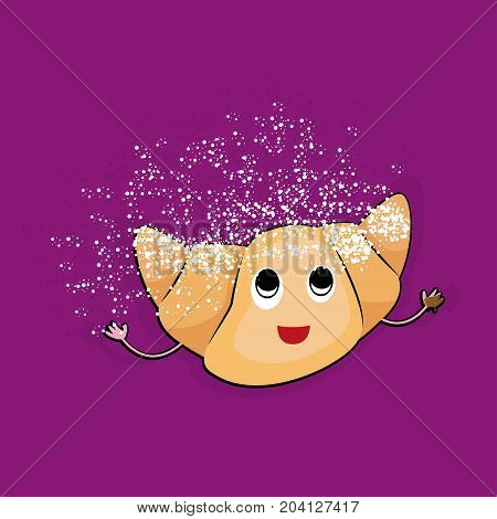 Croissant smiling icon. Sweets. Happy bun in simple cartoon style. Isolated fresh baked roll with one opened eye and raised hands standing on two legs. Some white crumbs. Flat design. Vector illustration